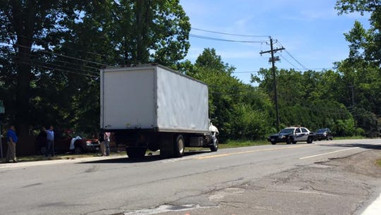 The box truck that collided with a car on Route 303 in which the car driver died
