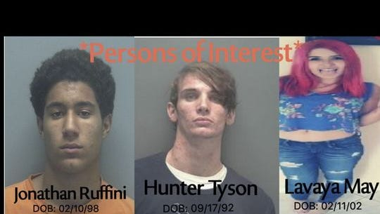 Jonathan Ruffini, 18, and Tyson Hunter, 23, have been charged with second degree murder, grand theft of automobile, and fraudulent use of a credit card, and Lavaya May, 16, was charged with accessory after the fact of murder, grand theft of automobile, and fraudulent use of a credit card.