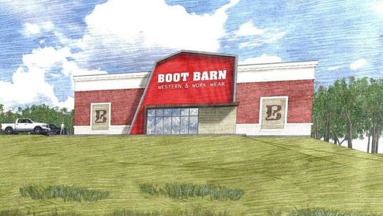 Rendering of Boot Barn, which will occupy an 8,000 square foot building on Vann Drive.