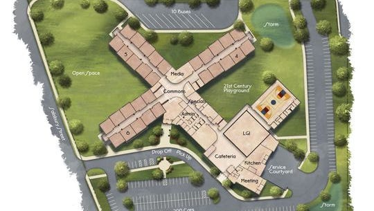 The original plans for the new Happy Hollow Elementary school.