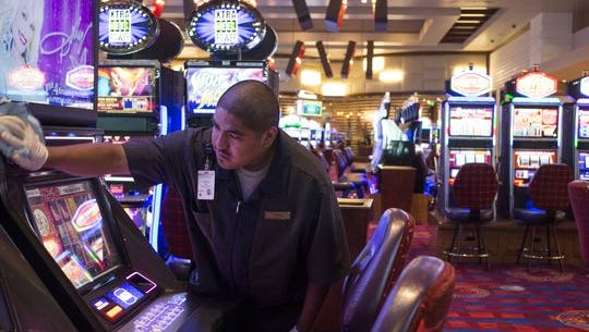 A worker at the Vee Quiva Casino.