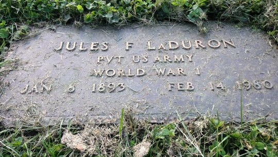 The grave site of Jules LaDuron at Beech Grove Cemetery.