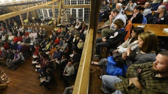"A packed house from last year's ""Unraveling York County History"" evening."
