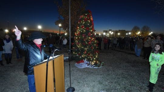 Baxter County Judge leads the countdown last year for the annual Christmas Tree Lighting Ceremony on the lawn of the Baxter County Courthouse.
