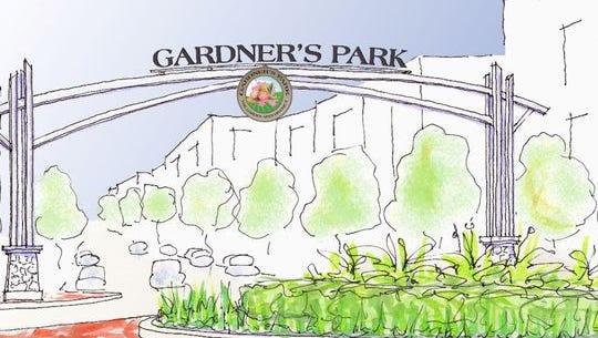 Gardner's Park gateway arch.