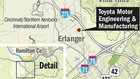 A map showing the location of the Toyota headquarters in Erlanger.