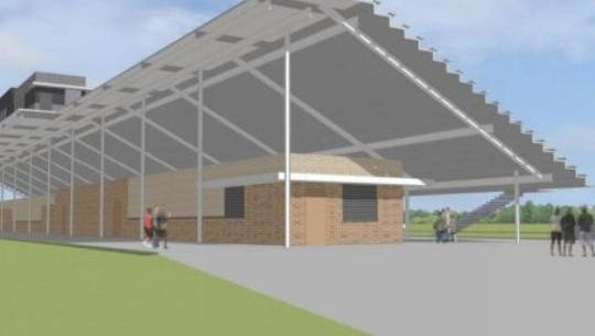 A rendering of the Johnston Stadium that's being constructed largely with penny sales tax money.