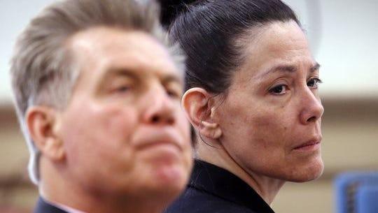 Virginia Vertetis at her murder trial in Superior Court, Morristown, with defense lawyer Edward Bilinkas.