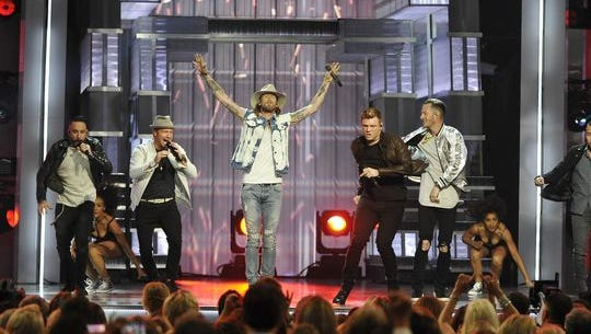 Florida Georgia Line and the Backstreet Boys perform together during the 52nd Academy of Country Music Awards at T-Mobile Arena on Sunday, April 2, 2017, in Las Vegas, Nev.