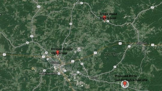 The location of the two current high schools in Dickson County and the proposed spot for the Burns middle, which could later be added to and made into a middle-high school.