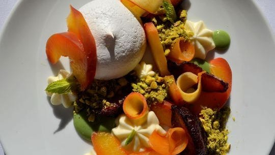 Stone fruit pavlova at The Frog and The Peach in New Brunswick, which won Best Restaurant at the inaugural Garden State Culinary Arts Awards in May.