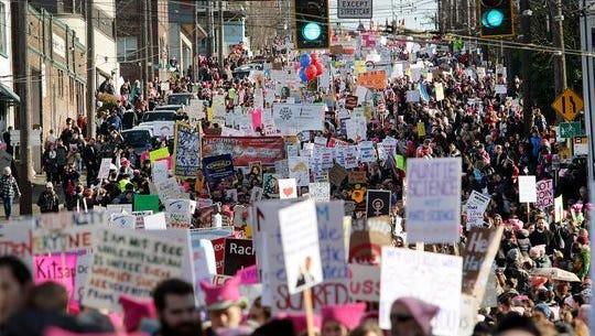 The 2017 Women's March in Seattle drew 100,000 marchers.