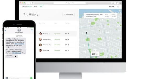 Screen shots of Uber's new Uber Health platform, which allows doctors and hospitals to easily schedule pick up and drop off rides for patients.