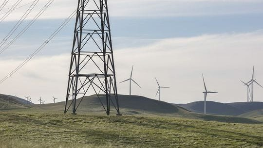 A wind turbine at the Golden Hills wind farm located near Livermore, California, run by NextEraEnergy Resources. Google has a long-term power purchase agreement with the wind farm.