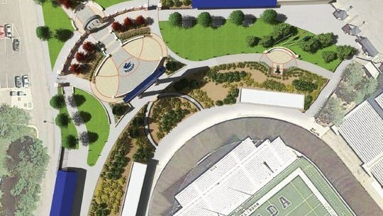 A conceptual design shows an overview of Donald L. Jensen Plaza.