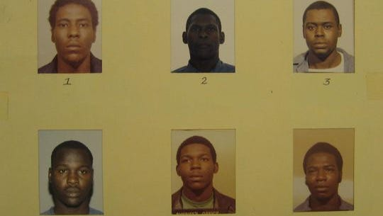 The photo of suspect Crosley Green (no. 2) is darker and smaller than the others.