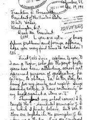 A letter Sanford Roan wrote to President Franklin D