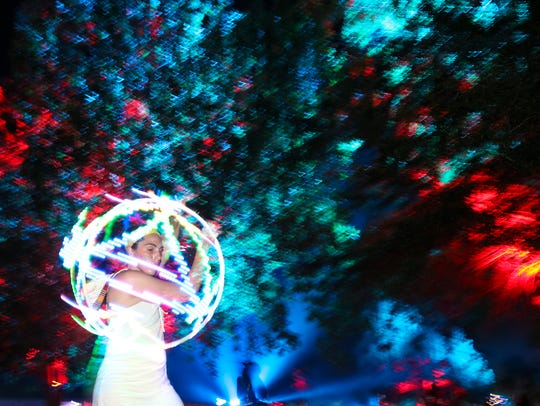 Alison Lamana of Maryland twirls her hula hoop Thursday