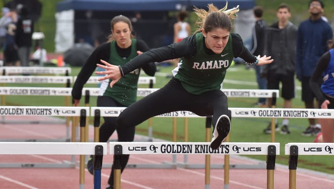 Ramapo Grace O'Shea wins 110m hurdles on Second Day of Bergen Track championships on Saturday, May 12, in Old Tappan, NJ.