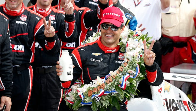 Juan Pablo Montoya poses for a photo after winning the 2015 Indianapolis 500.