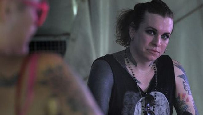 Laura Jane Grace of Against Me! talks to a press conference at the Bonnaroo Music and Arts Festival on Friday June 12, 2015, in Manchester.