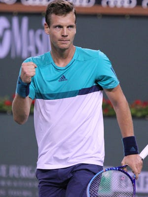 Tomas Berdych reacts during his win against Borna Coric during the BNP Paribas Open on Monday, March 14, 2016.