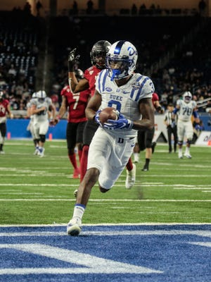 Duke WR (3) T.J. Rahming makes a catch to score a touchdown against Northern Illinois during the 2017 Quick Lane Bowl at Ford Field on Tuesday Dec. 26, 2017.