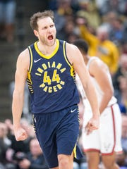 Bojan Bogdanovic of Indiana yells after hitting a late shot against the Milwaukee Bucks at Indiana Pacers, Bankers Life Fieldhouse, Indianapolis, Monday, March 5, 2018. Indiana won 92-89.