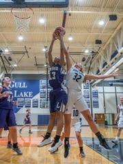 Lakeview's Brazyll Watkins (13) and Gull Lakes's Audrey