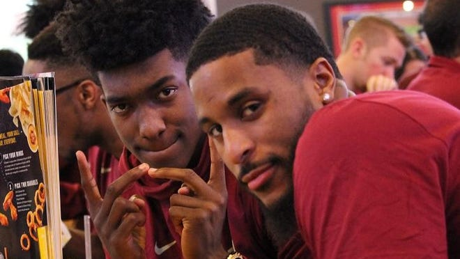 FSU's Terance Mann and Phil Cofer await the Seminoles NCAA Tournament selection on Sunday.