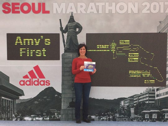 The El Paso Marathon's 'More Than a Marathon' program is going into it's fourth year.  The program is a 9 race series that challenges participants to run eight 5K races throughout the year then run one of our races in February accumulating over 26.2 miles in the process and earning a 'More Than a Marathon' Finishers medal. Amy McAnulty just returned from running her 1st marathon in Korea.  She credits the 'More Than a Marathon' series as being instrumental in getting her prepared for her first 26.2.