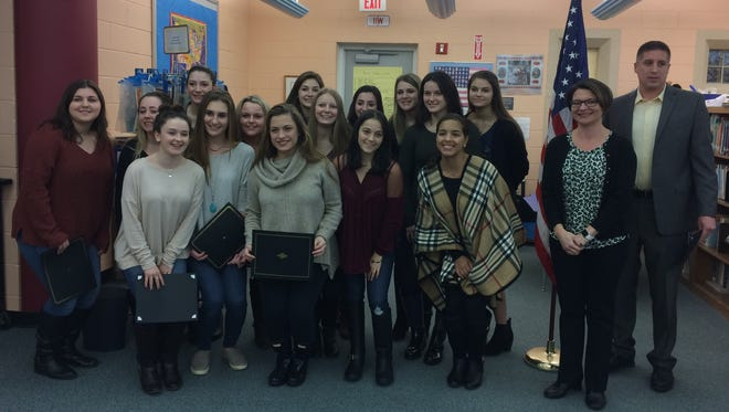 The Cedar Grove High School cheerleaders were recognized at a Tuesday, March 28, 2017 Board of Education meeting.