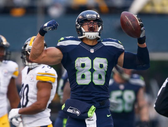 Jimmy Graham must bring this kind of intensity into the playoffs. Graham had 65 receptions and 923 yards this year.
