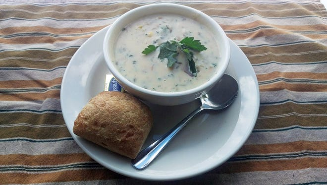 Beans & Barley's New England clam chowder is packed with clams and potatoes.