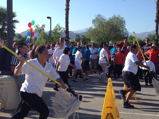 Housekeeping staff from local hotels participate in the Housekeeping Olympics in Palm Springs Wednesday.