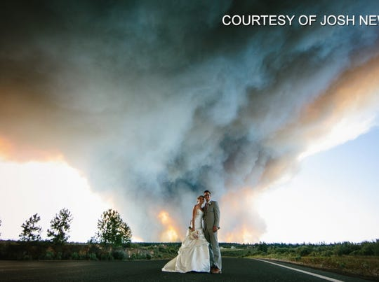 Wildfire rages in viral wedding photos