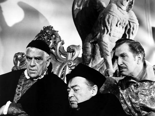 Boris Karloff, Peter Lorre, and Vincent Price in a promo photo for The Raven.