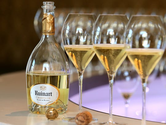 Ruinart Champagne in a cellar in Reims, eastern France, on April 20, 2016.
