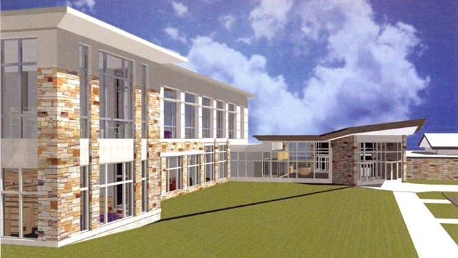 An architectural rendering of the exterior of the Everett Roehl Marshfield Public Library.