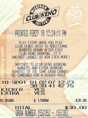 A Macomb County woman's winning Club Keno Lottery ticket.