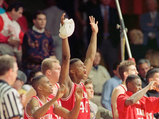 Indiana's Greg Graham left, Eric Anderson center, and
