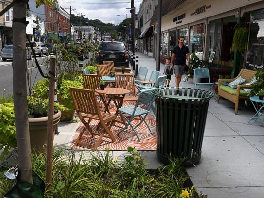 Here's an example of a parklet in New Jersey created for outside dining. Parklets will soon be coming to downtown Oxnard for restaurants that are interested.