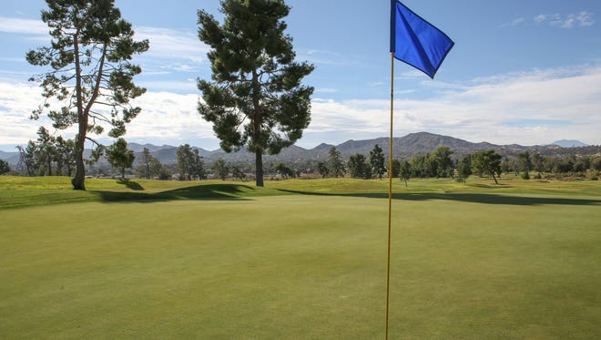 The green on the 3rd hole at Hawk's Landing Golf Course in Yucca Valley.
