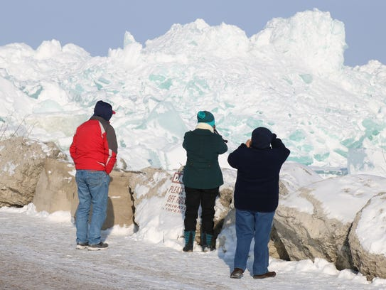 Large mountains of Lake Erie ice on the western shores