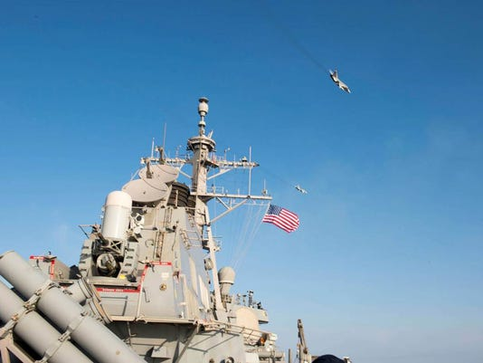 Russian Sukhoi Su-24 Attack Aircraft Makes Low Altitude Pass by USS Donald Cook