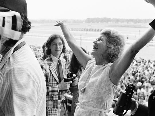 In this June 9, 1973, file photo, Penny Chenery reacts