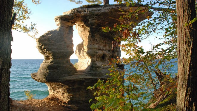 Chapel Rock is one of the scenic sites at Pictured Rocks National Lakeshore.