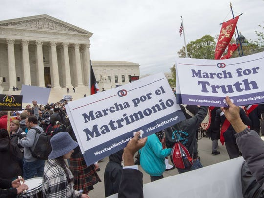 Marriage marchers outside the Supreme Court April 25.