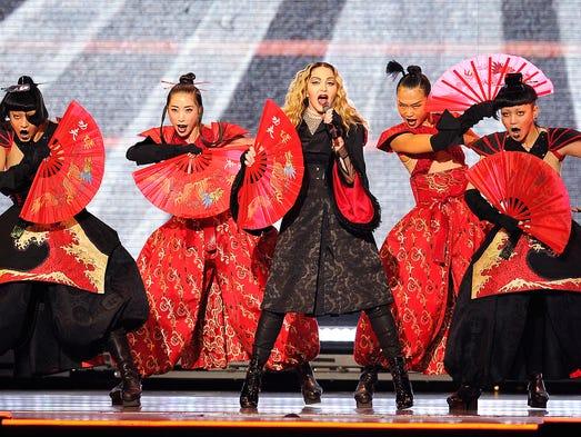 "Madonna performs during her ""Rebel Heart"" tour at Bridgestone"