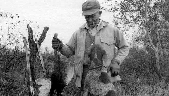 Conservationist Aldo Leopold is shown in this 1943 photo with his dog Gus after a pheasant hunt near The Shack in Sauk County. Aldo Leopold is shown in this 1943 photo with his dog Gus after a pheasant hunt near The Shack in Sauk County. Leopold is world-renowned for his conservation teaching and was an avid hunter.